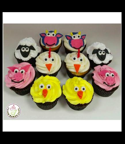 Farm Animals Themed Cupcakes