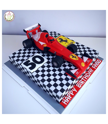 Car Themed Cake - Ferrari Car - 3D Cake Topper - 1 Tier 01a