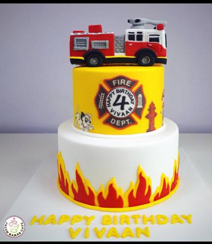 Fire Engine Themed Cake 06a