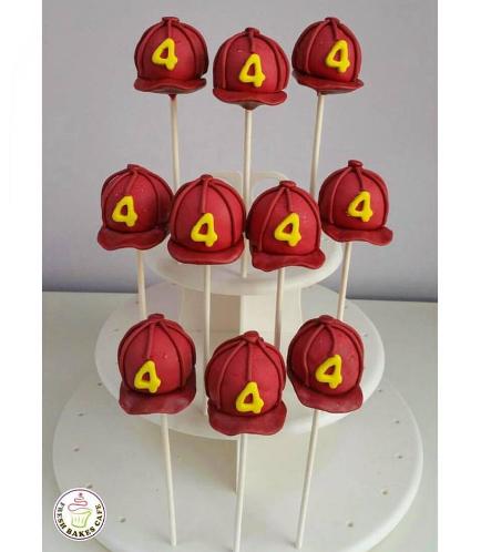 Fireman Helmet Cake Pops