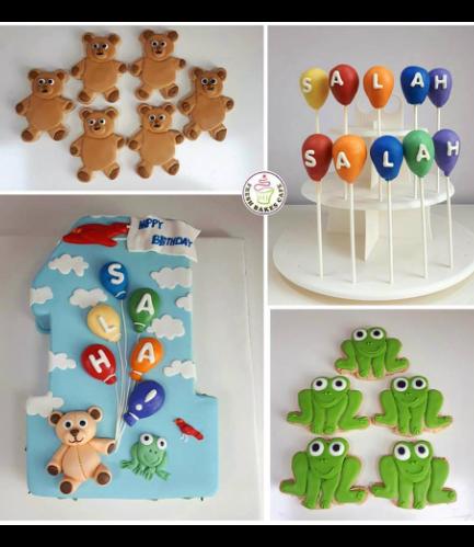 Cake - Number 01 - 3D Cake - Bear & Frog