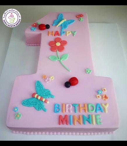 Cake - Number 01 - 2D Number 01 - Butterflies, Bugs, & Flowers