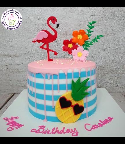 Flamingo Themed Cake - 2D Cake Topper 05