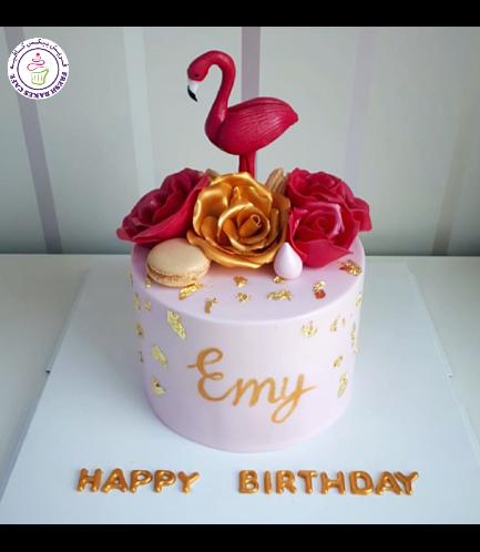 Flamingo Themed Cake - 3D Cake Topper - Roses & Macarons 02