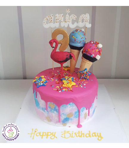 Flamingo Themed Cake - 3D Cake Topper & Ice Cream Cones 02