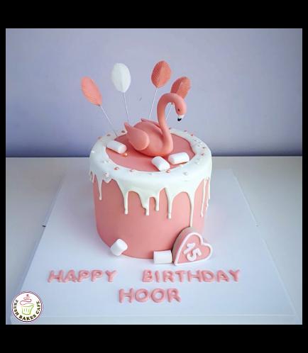 Flamingo Themed Cake - 3D Cake Topper - 1 Tier 05 Peach