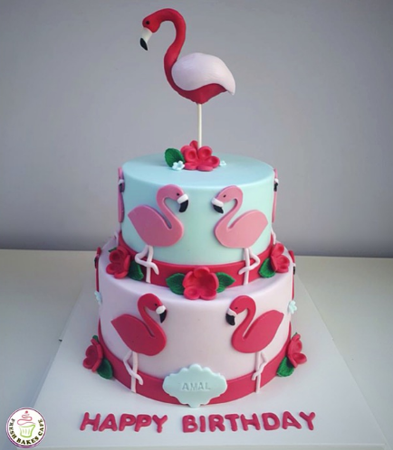 Flamingo Themed Cake - 3D & 2D Cake Toppers - 2 Tier