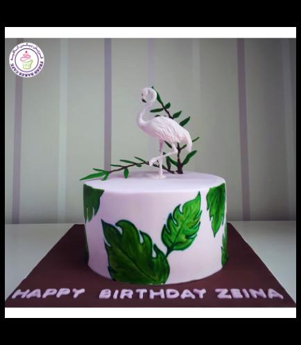 Flamingo Themed Cake - 3D Cake Topper - 1 Tier 06