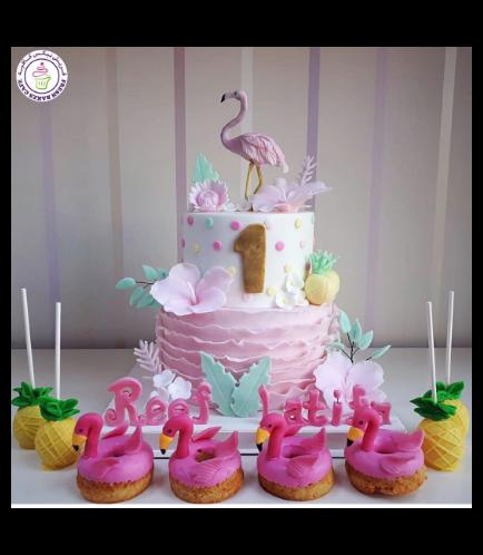 Flamingo Themed Cake - 3D Cake Topper - 2 Tier 01b