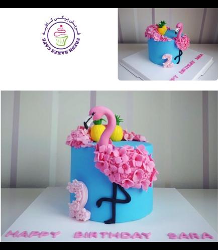 Flamingo Themed Cake - 2D Cake Topper 02