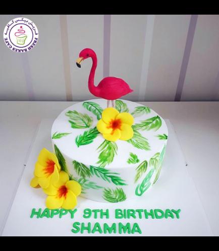Flamingo Themed Cake - 3D Cake Topper - 1 Tier 01