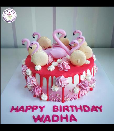 Flamingo Themed Cake - 3D Cake Toppers & Flamingo Macarons