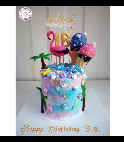 Flamingo Themed Cake - 3D Cake Topper & Ice Cream Cones 01