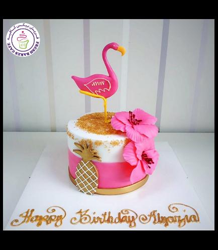 Flamingo Themed Cake - 2D Cake Topper 03