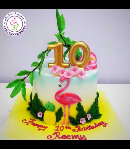 Flamingo Themed Cake - 2D Cake Topper 04