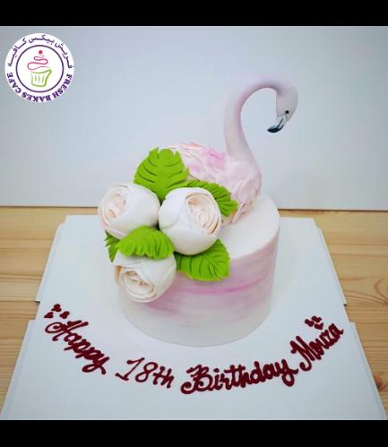 Flamingo Themed Cake - 3D Cake Topper - 1 Tier 08