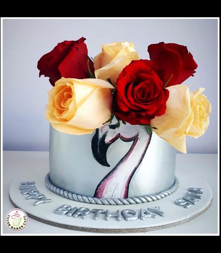 Flamingo Themed Cake - Drawing & Natural Roses