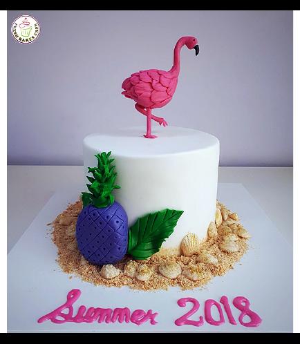 Flamingo Themed Cake - 3D Cake Topper - 1 Tier 04
