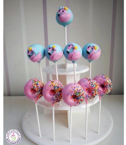 Flamingo Themed Cake Pops & Bite-Sized Donuts on Sticks