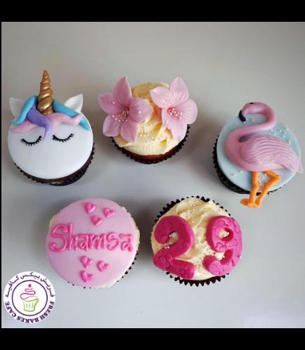 Flamingo Themed Cupcakes - Flamingo & Unicorn