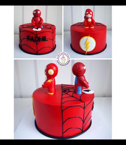 Flash & Spider-Man Themed Cake
