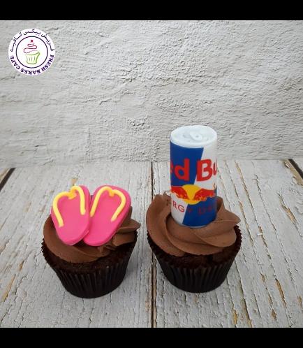 Flip Flops & Red Bull Themed Cupcakes