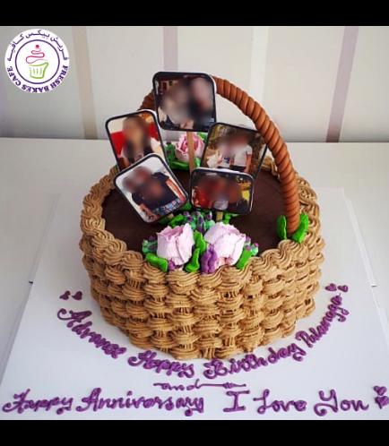 Roses & Photos Basket Themed Cake