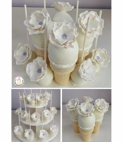 Flower Themed Cone Cake Pops & Cake Pops