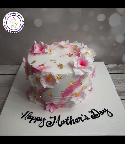 Cake - Flowers - Cream Cake - 1 Tier 05b