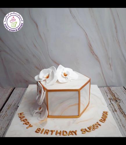 Cake - Orchids - Fondant Marble - White & Grey - Hexagon Cake