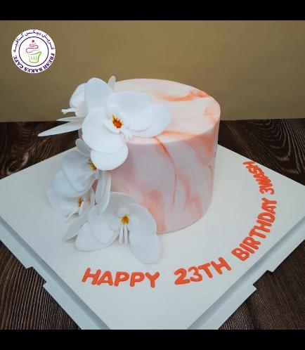 Cake - Orchids - Fondant Marble - Peach
