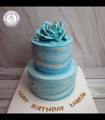 Cake - Rose - Fondant Marble - 2 Tier