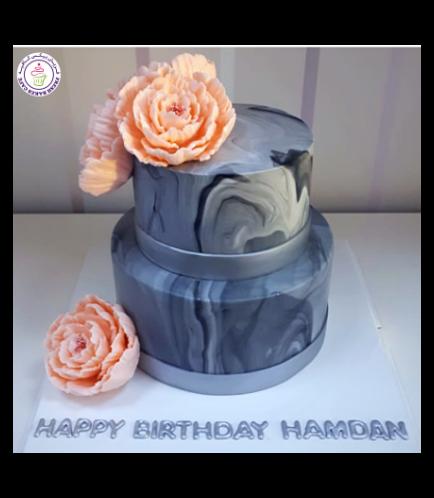 Cake - Peonies - Fondant Marble - 2 Tier