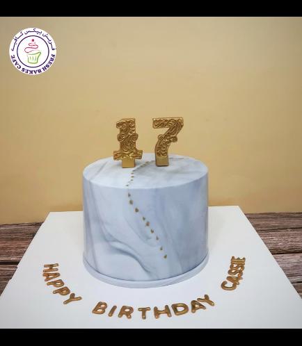 Number Themed Cake - 3D Cake Topper - Fondant Marble