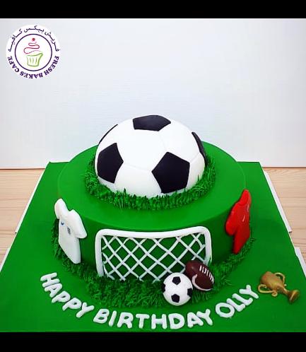 Football Themed Cake - Ball - Half a Ball Cake Topper 01b