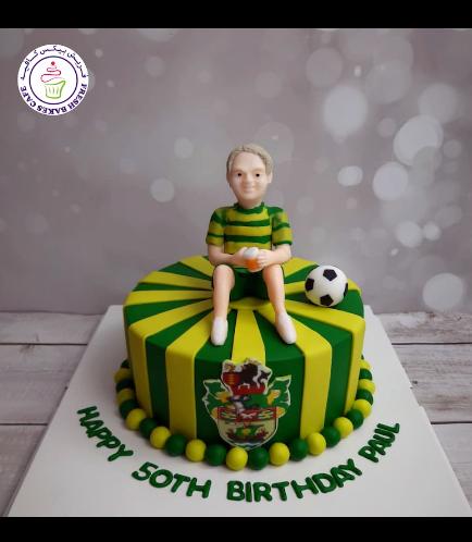 Football Themed Cake - Runcorn FC Halton - Logo - Printed Picture & 3D Character