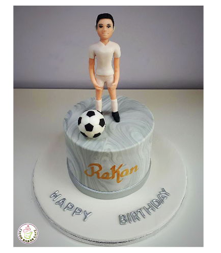 Football Themed Cake - Ball & Character 01a