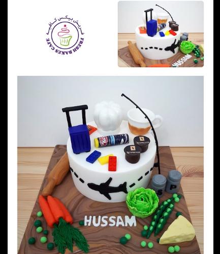 For Him Themed Cake - Travel, Hobbies, & Favorite Food