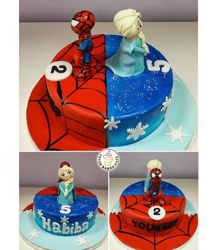 Spider-Man & Disney Frozen Themed Cake