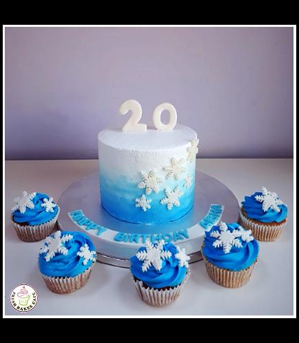 Cake - Snowflakes - 1 Tier 02
