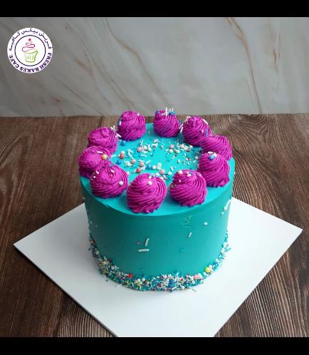 Funfetti Cake - Cream Piping - Blue & Purple