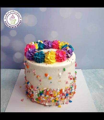 Funfetti Cake - Cream Piping - Multicolored