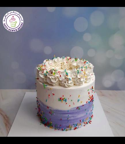 Funfetti Cake - Cream Piping - Purple 02