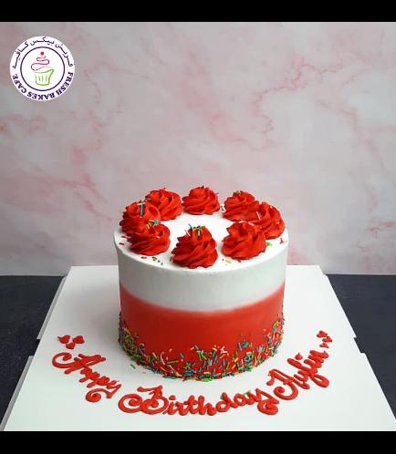 Funfetti Cake - Cream Piping - Red