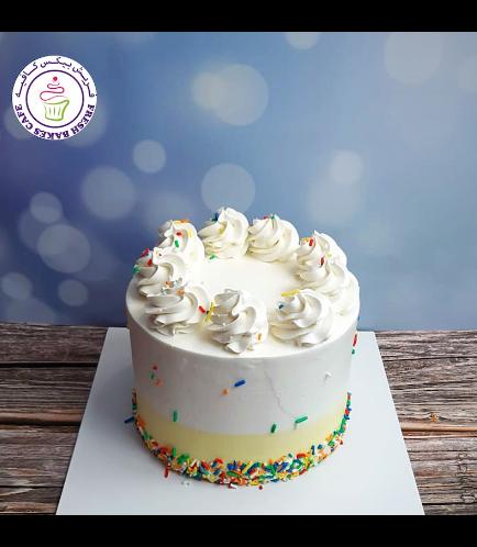 Funfetti Cake - Cream Piping - Yellow