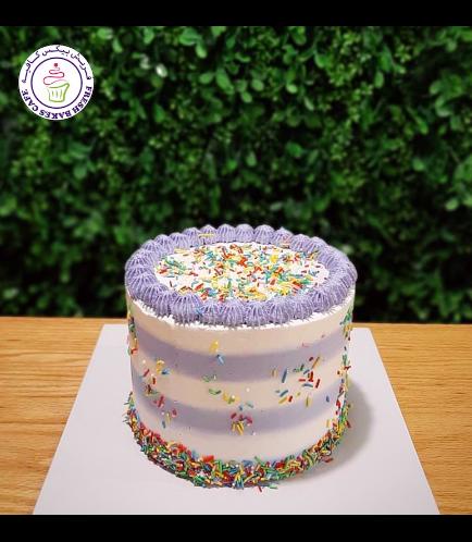 Funfetti Cake - Cream Piping & Lines - Purple