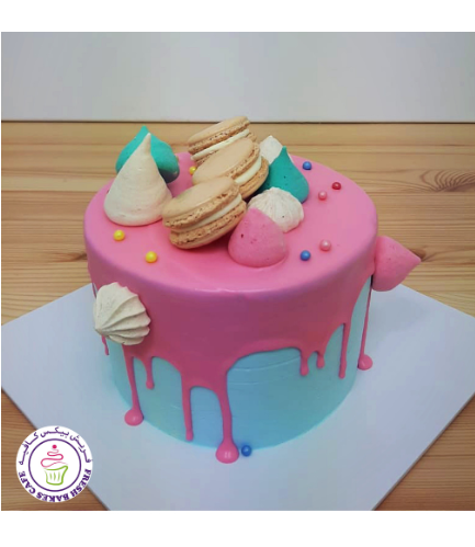 Funfetti Cake with Macarons & Meringues - Pink & Blue