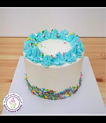 Funfetti Cake - Cream Piping - Blue