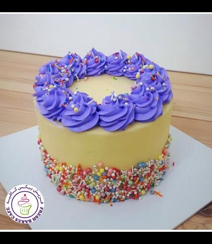 Funfetti Cake - Cream Piping - Purple