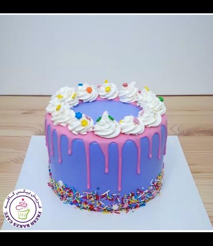 Funfetti Cake - Cream Piping & Drizzle - Purple